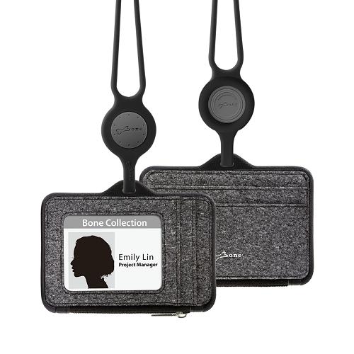 Bone 頸掛識別證套 (橫式沙紋款) Lanyard Wallet - 沙紋黑