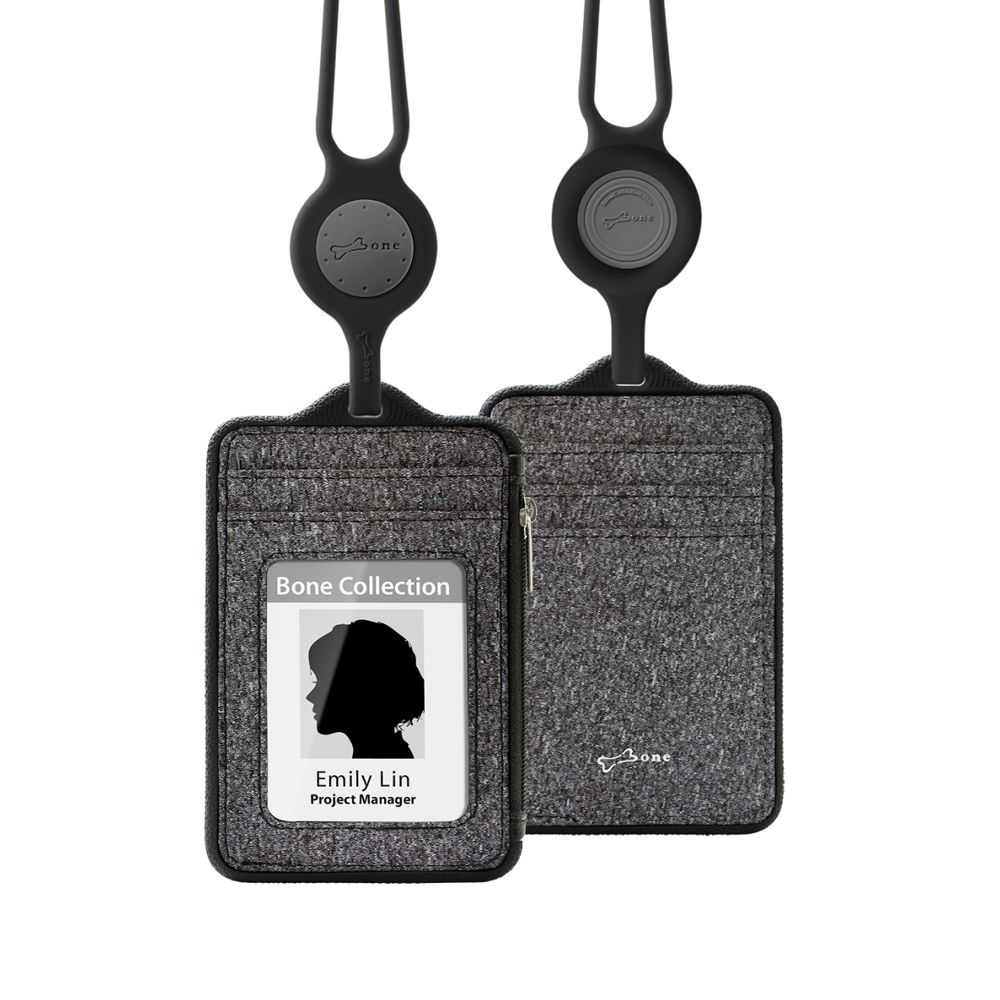 Bone|頸掛識別證套 (直式沙紋款) Lanyard Wallet - 沙紋黑