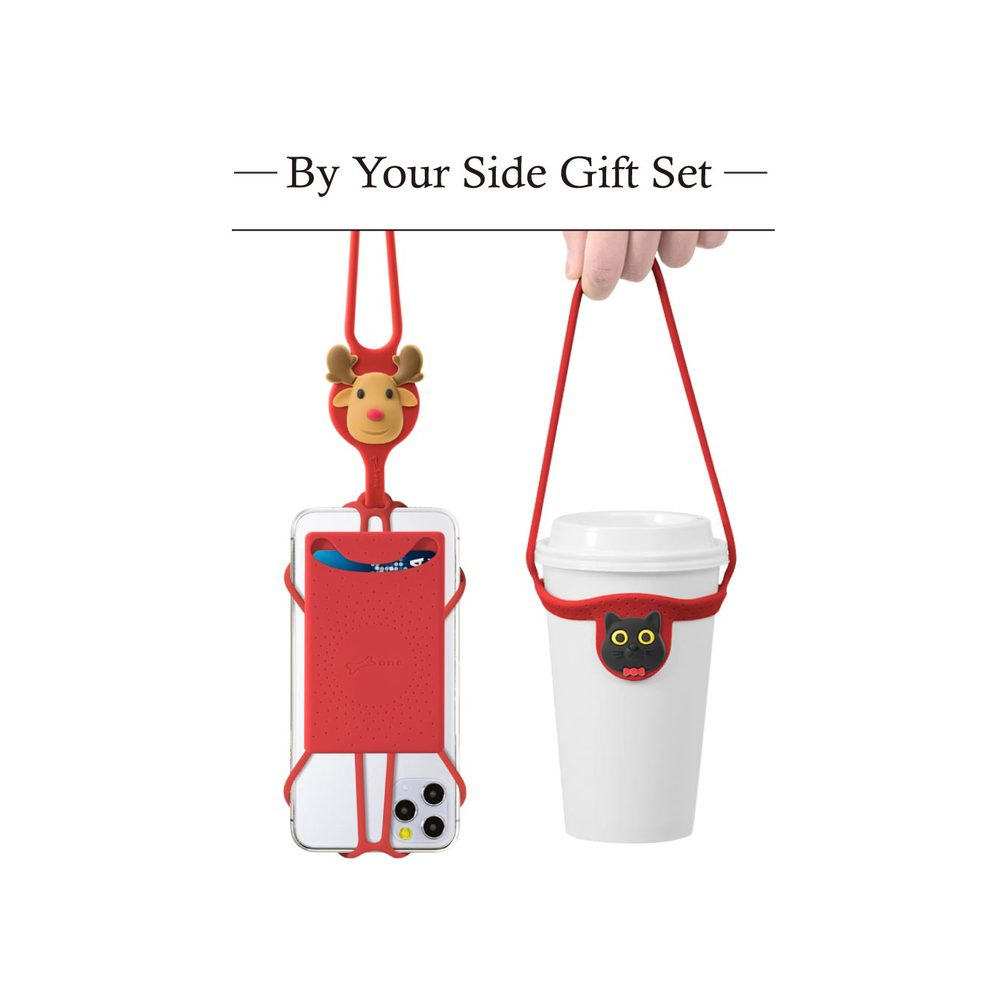 Bone 陪你在身邊-禮物組-紅 (斜背手機綁二代卡套+環保杯綁)