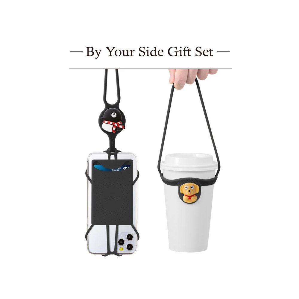 Bone|陪你在身邊-禮物組-黑 (斜背手機綁二代卡套+環保杯綁)