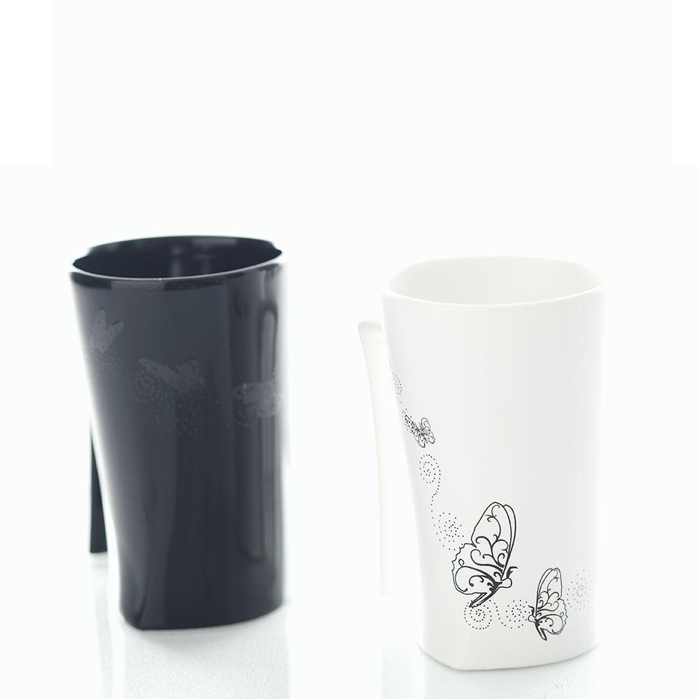 集瓷cocera|斑斕蝶影變色寧靜杯-黑白對杯