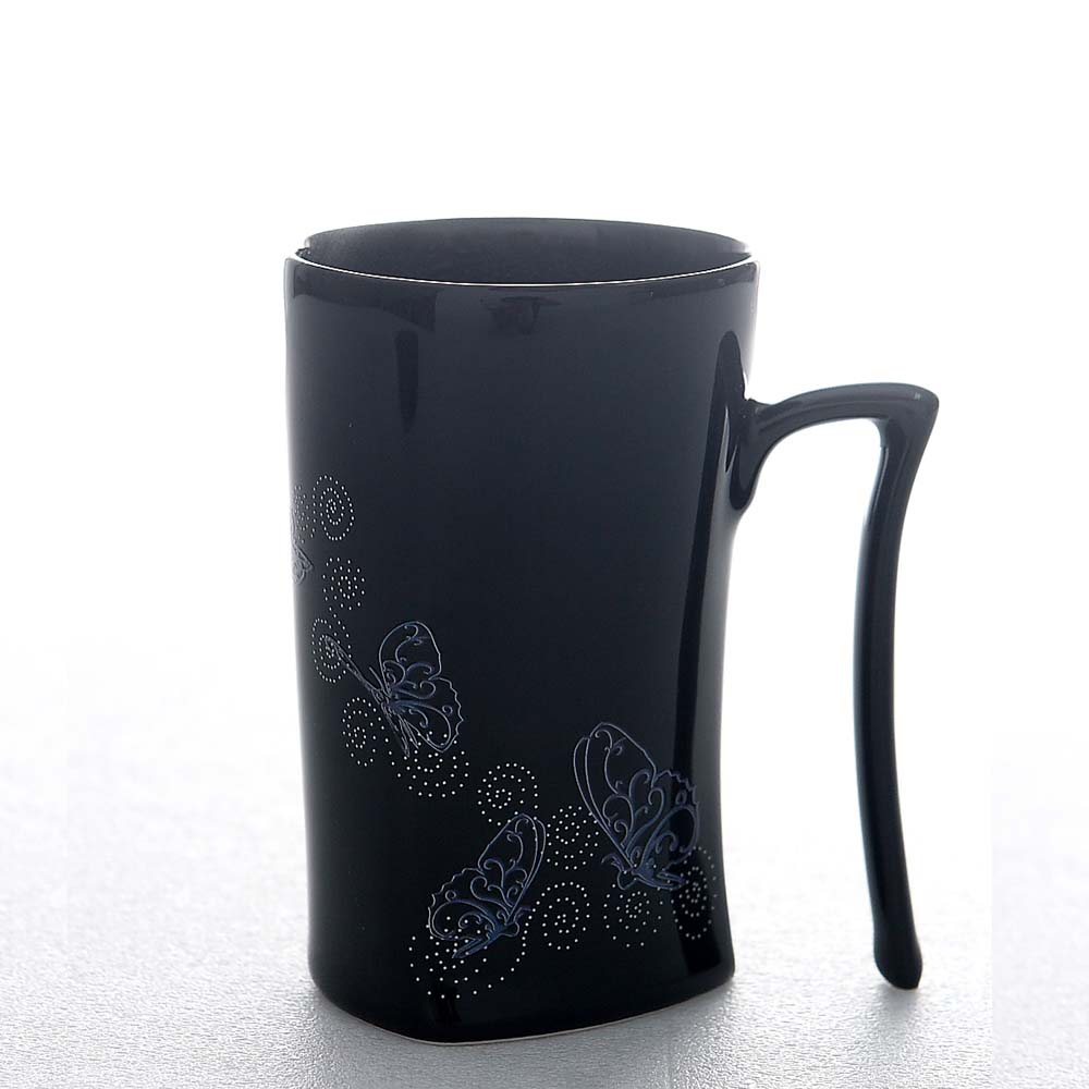 集瓷cocera|斑斕蝶影變色寧靜杯(亮黑)