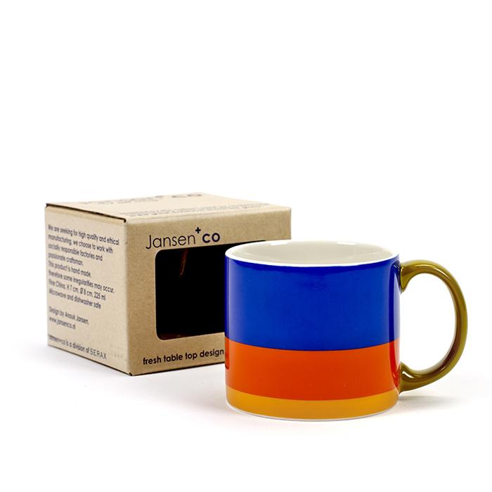 SERAX|Jansen+co直條紋馬克杯-藍紅