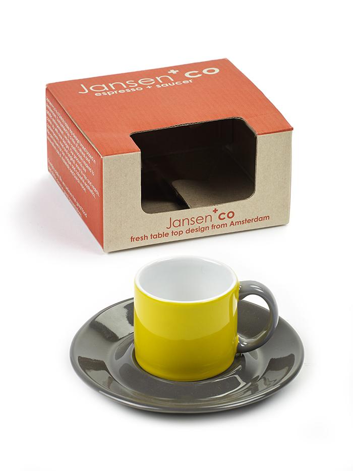 SERAX|Jansen+co ESPRESSO杯盤組-黃灰