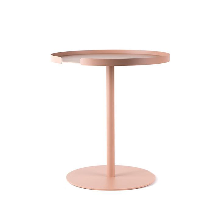 Design Bite|圓形邊桌-珊瑚粉