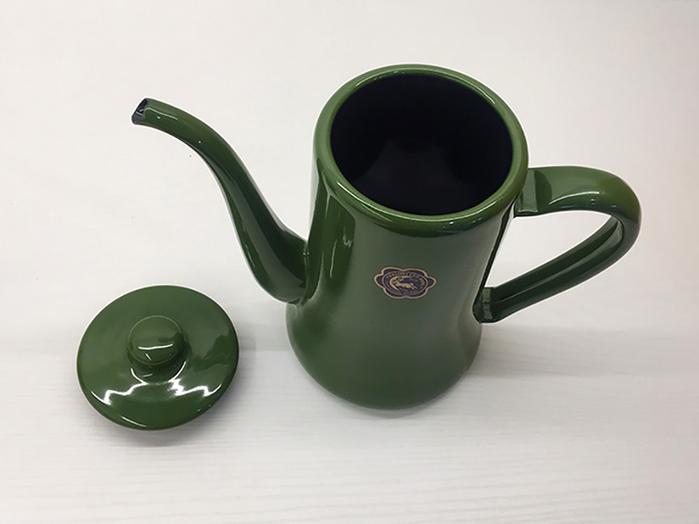 月兔印|琺瑯手沖壺0.7L-橄欖綠