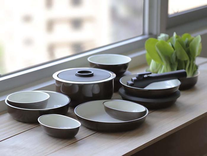 JIA Inc. x 柴田文江|虹彩鋼 賞味多功能鍋具四件組18cm ─ 咖啡色