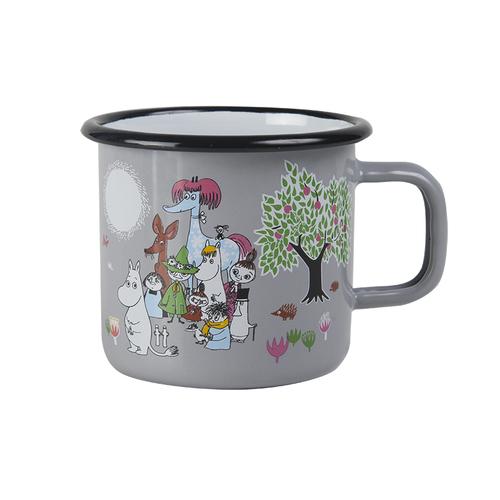 Muurla|嚕嚕米系列 - 祕密花園琺瑯馬克杯(灰)370cc