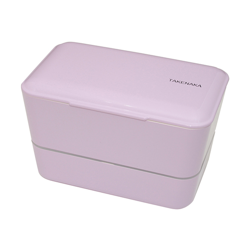 TAKENAKA BENTO BOX|大容量粉彩雙層便當盒(附繩)-薰衣草色