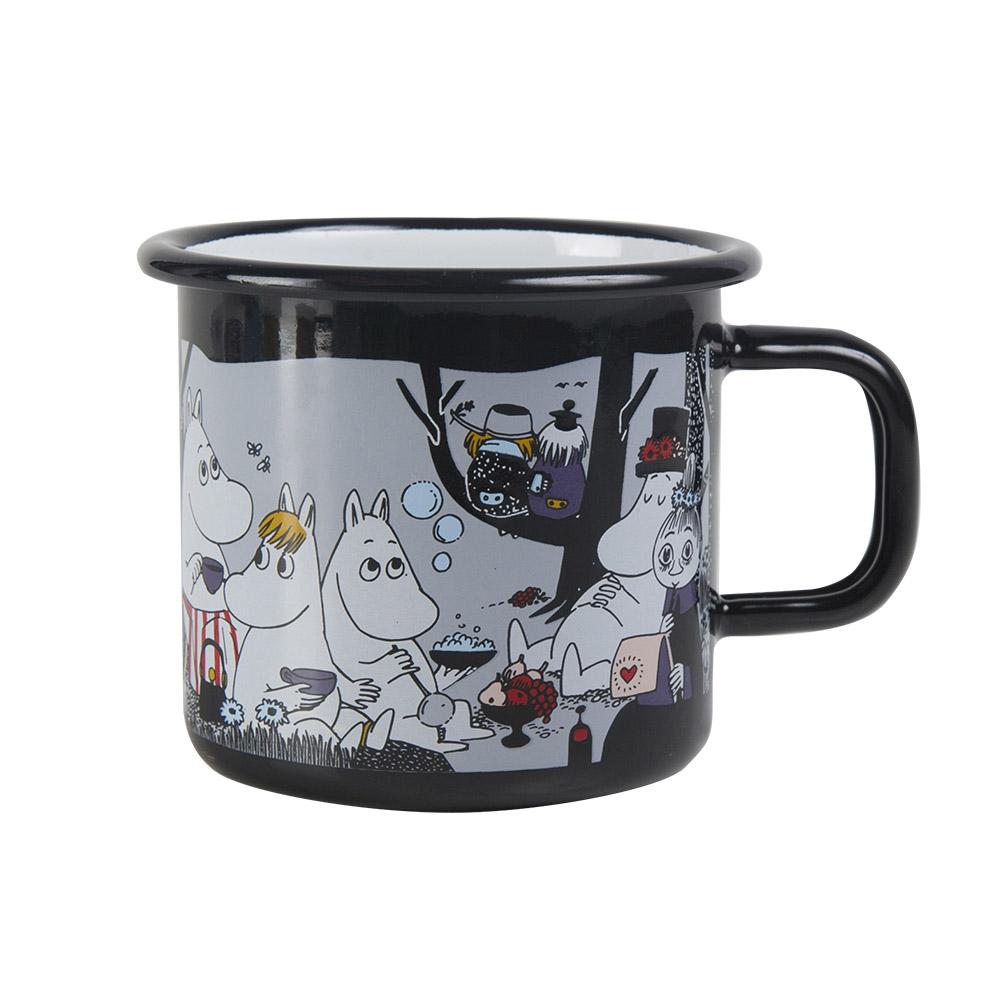 Muurla|嚕嚕米系列 - 野餐琺瑯馬克杯(黑)370cc
