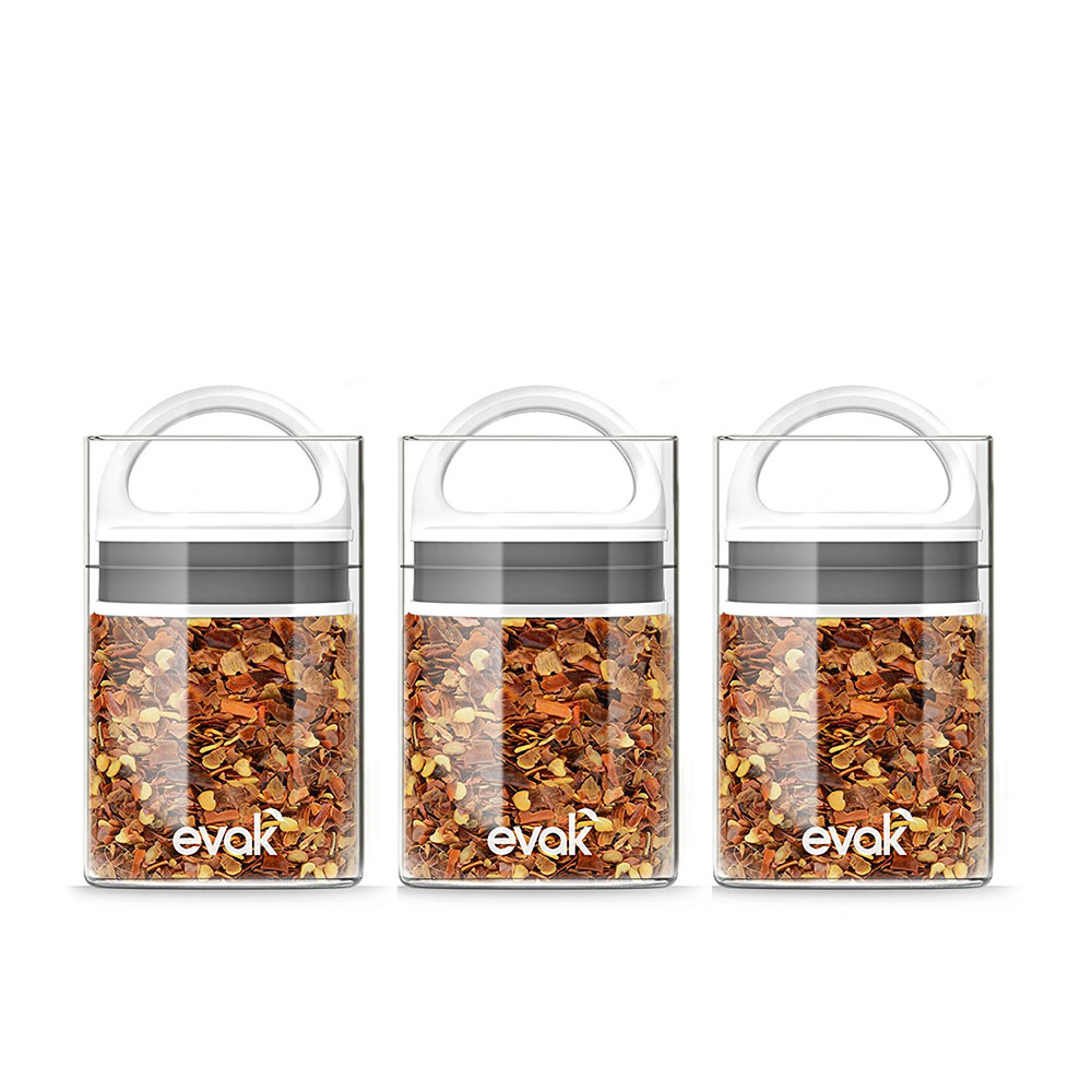 prepara EVAK真空式密封儲物罐-白色mini (一組三入)