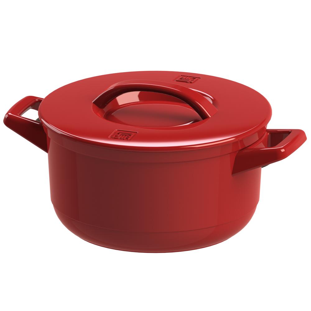 JIA 家 晶釉瓷 雙耳湯鍋24cm ─ 紅色