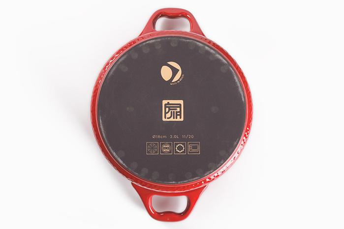 JIA 家|晶釉瓷 雙耳湯鍋18cm ─ 紅色(錘紋)