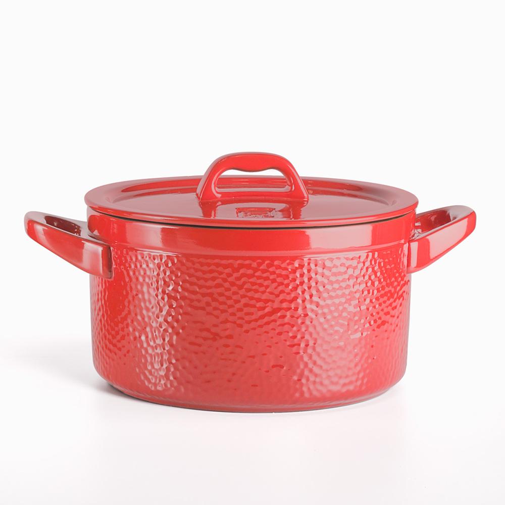 JIA 家|晶釉瓷 雙耳湯鍋22cm ─ 紅色(錘紋)