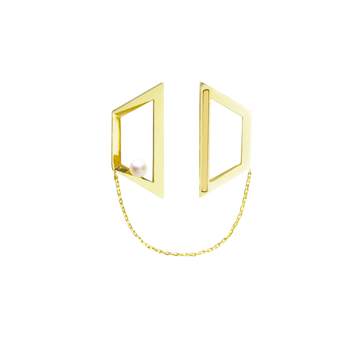 (複製)OLIVIA YAO JEWELLERY|FLOATING OPTICKS 玫瑰金珍珠磁鐵耳環