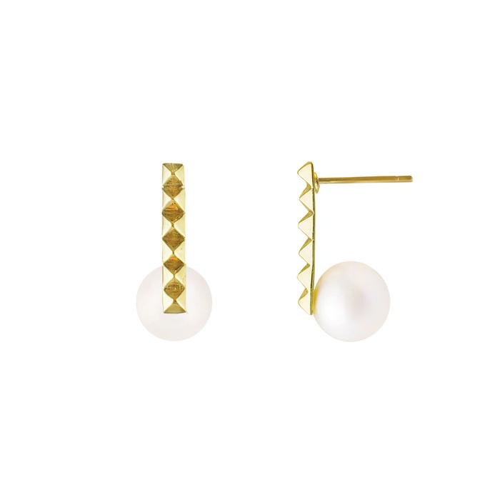 OLIVIA YAO JEWELLERY|PEARL DIAMANTE 金色鉚釘珍珠耳環