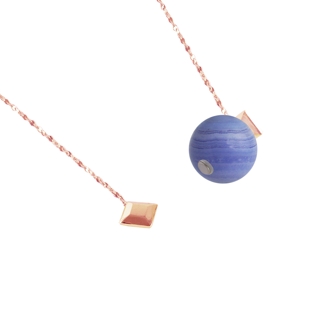 OLIVIA YAO JEWELLERY|BLUE LACE 藍紋瑪瑙磁鐵長鍊