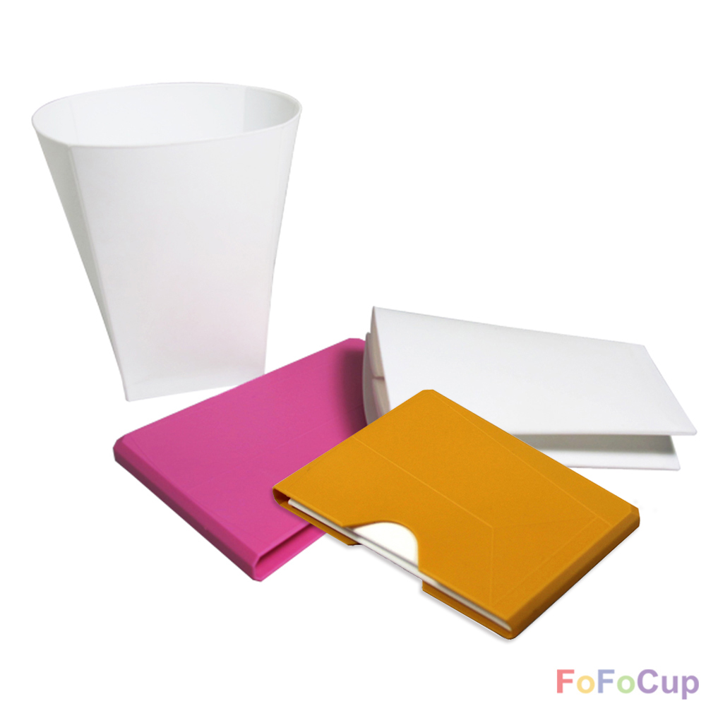 FOFOCUP折折杯|台灣創意杯身可折8oz折折杯-粉+黃各1入