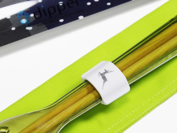 dipper|3合1檜木環保餐具組-青嫩綠叉(聖誕麋鹿限定版)