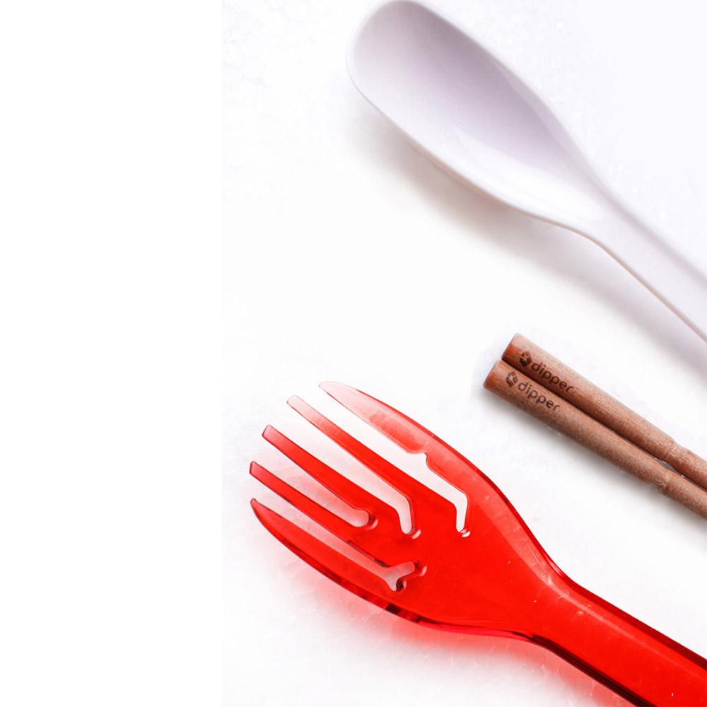 dipper|3合1紫檀木環保餐具筷叉匙組-莓果紅