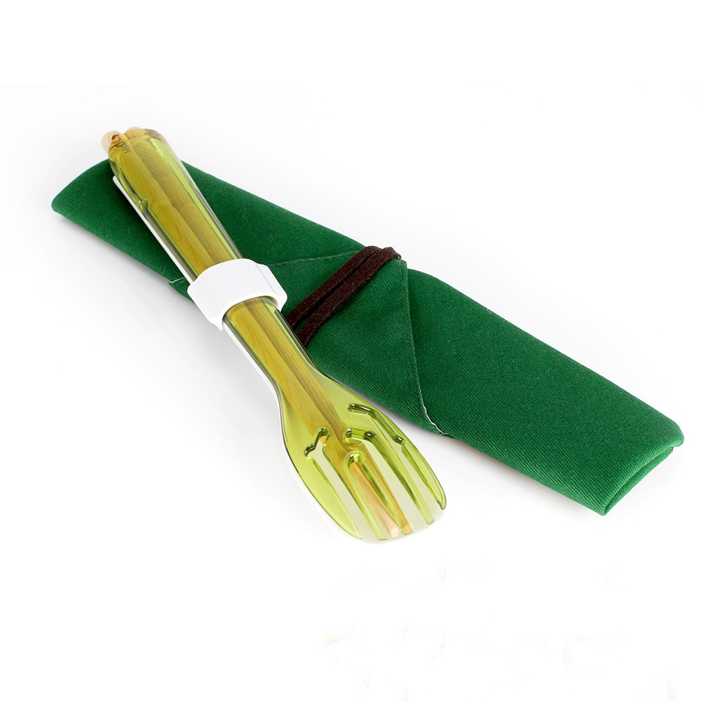 dipper|3合1環保餐具筷叉匙組-青嫩綠叉/陶瓷湯匙