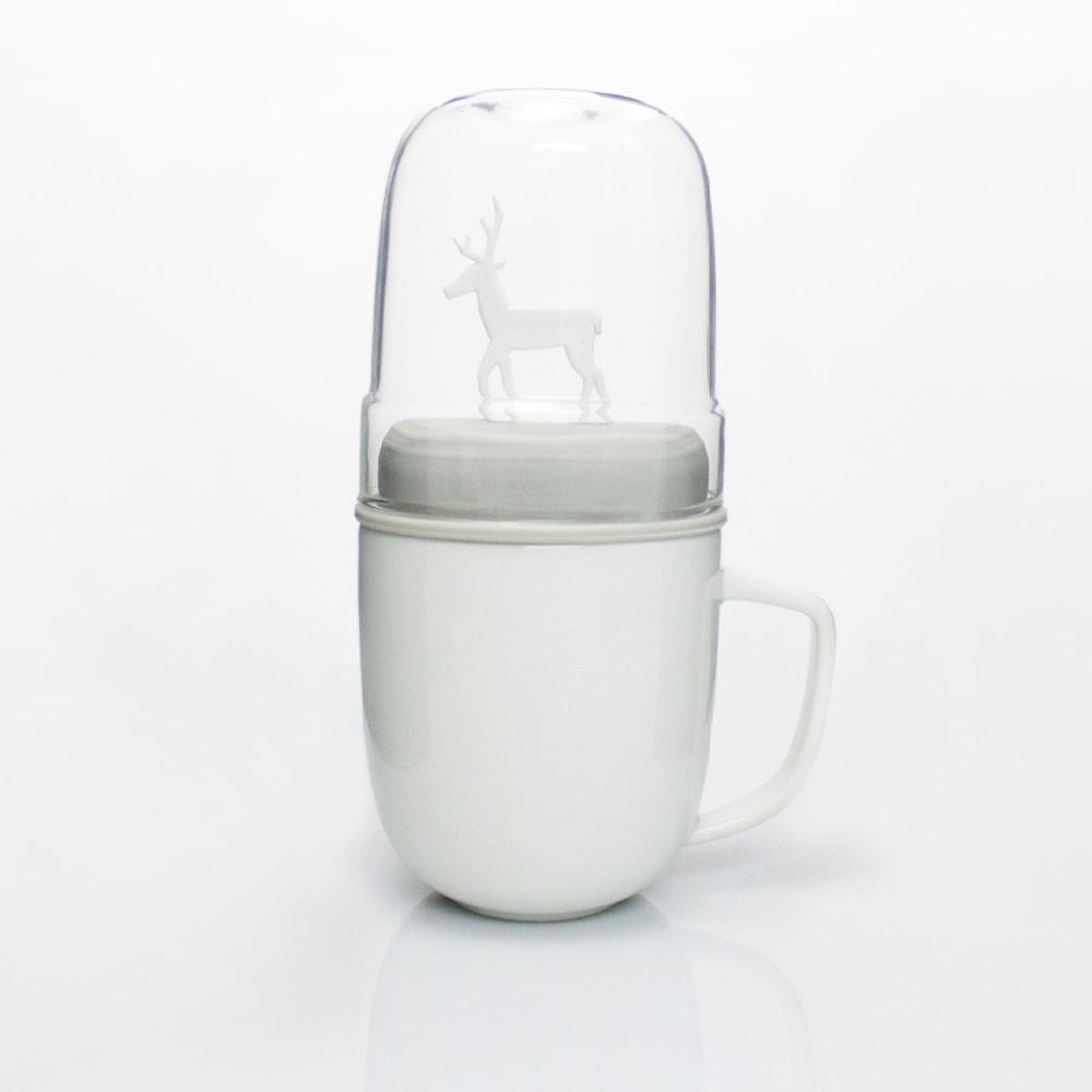dipper|1+1 灰麋鹿雙杯組(馬克杯+玻璃杯+攪拌棒+杯蓋)