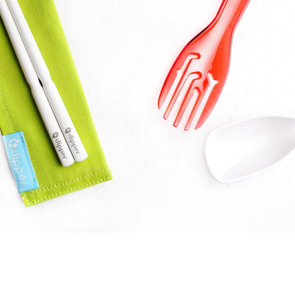 dipper|3合1SPS環保餐具筷叉匙組-莓果紅