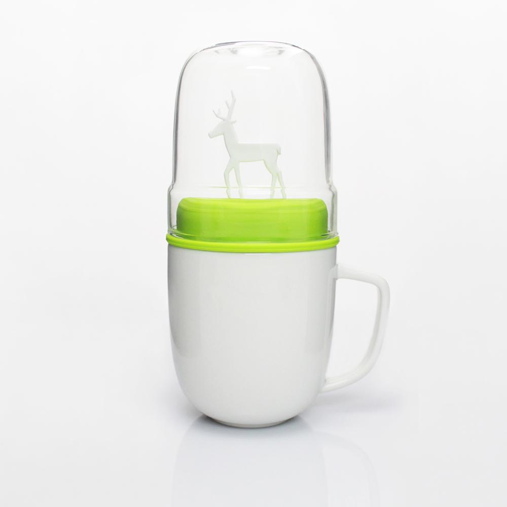 dipper|1+1 綠麋鹿雙杯組(馬克杯+玻璃杯+攪拌棒+杯蓋)