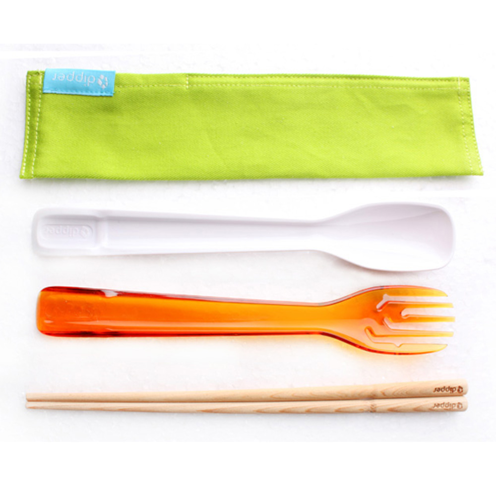 dipper|3合1檜木環保餐具筷叉匙組-甜戀橘