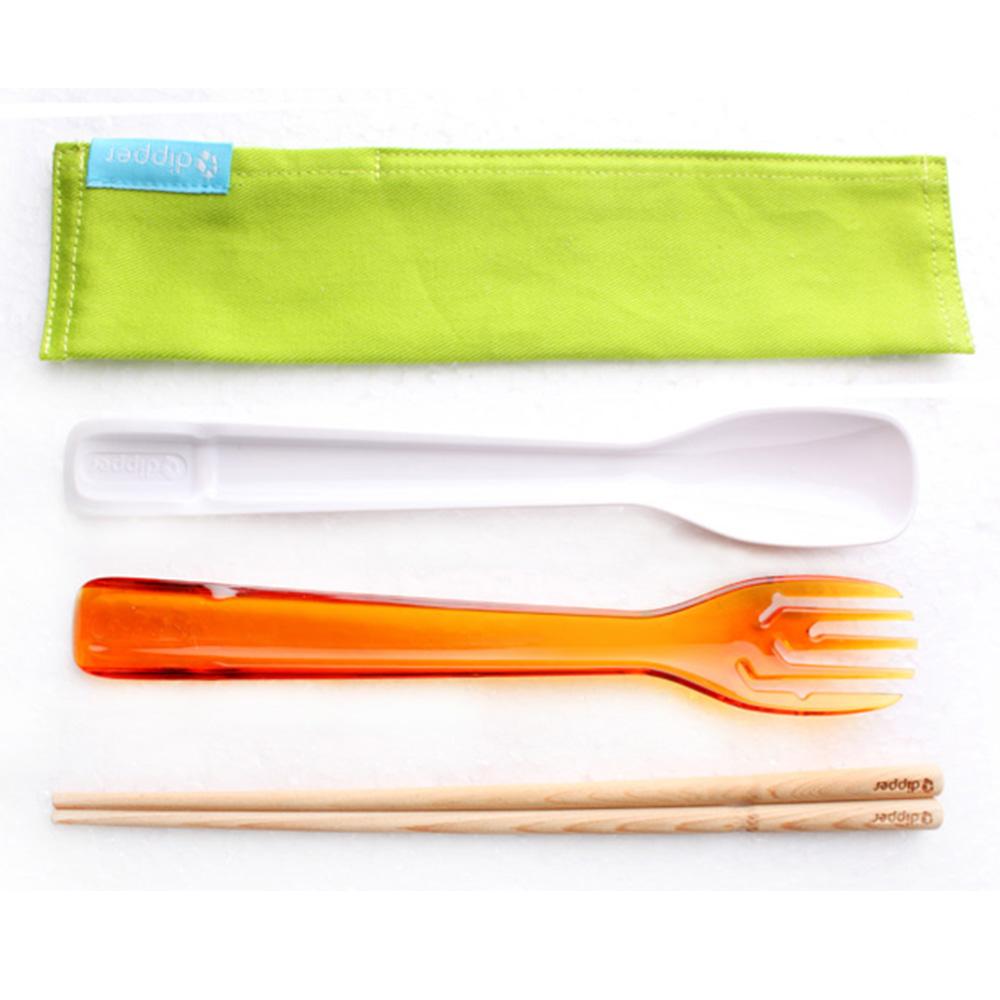 dipper 3合1檜木環保餐具筷叉匙組-甜戀橘