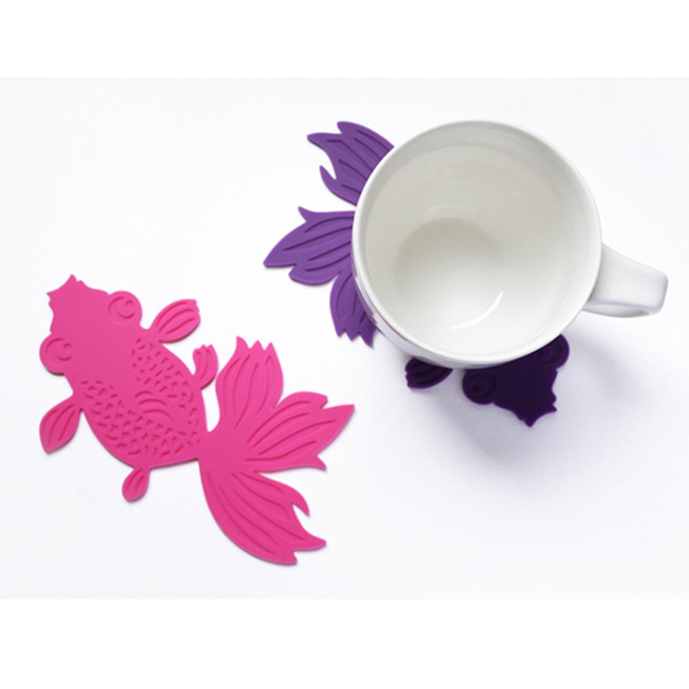 dipper 原創彩色金魚杯墊/桌墊/隔熱墊5入-彩色