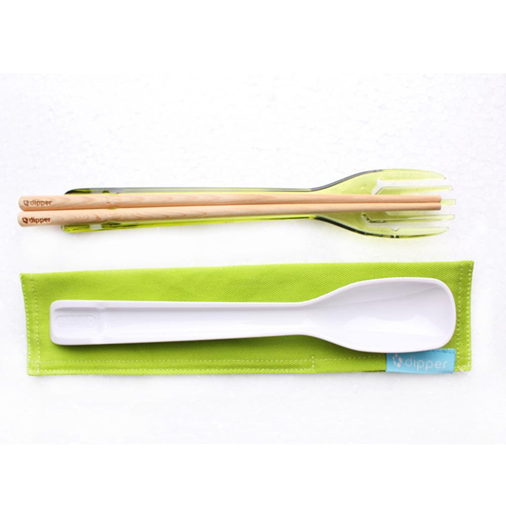 dipper|3合1檜木環保餐具筷叉匙組-青嫩綠