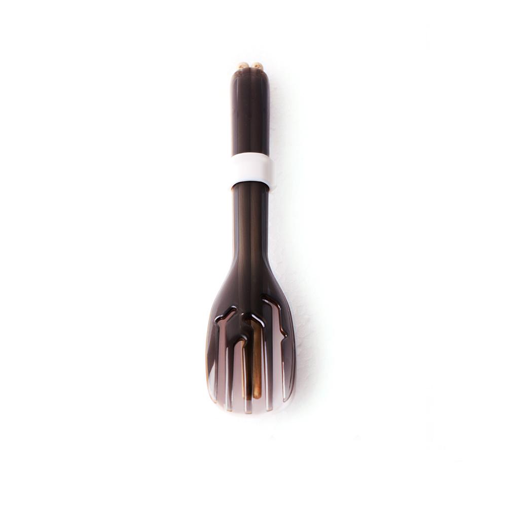 dipper 3合1檜木環保餐具筷叉匙組-潑墨黑