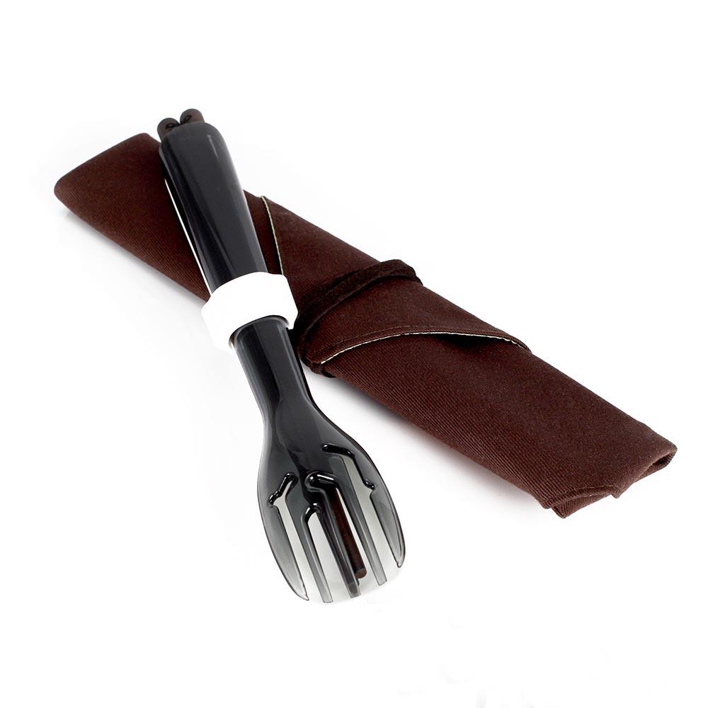 dipper 3合1環保餐具筷叉匙組-潑墨黑叉/陶瓷湯匙