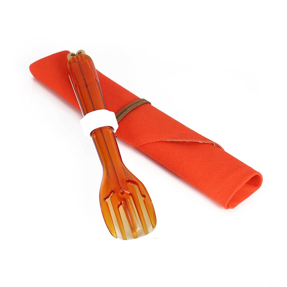 dipper|3合1環保餐具筷叉匙組-甜戀橘叉/陶瓷湯匙