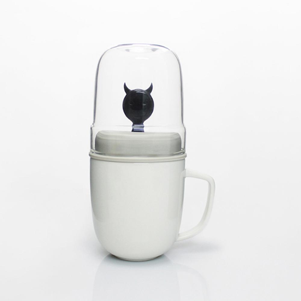 dipper 1+1 黑惡魔雙杯組(馬克杯+玻璃杯+攪拌棒+杯蓋)
