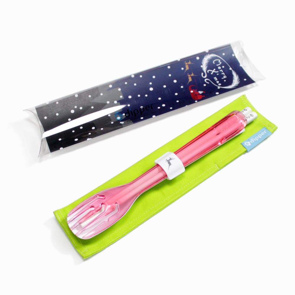 dipper|3合1SPS環保餐具組-香檳粉紅叉(聖誕麋鹿限定版)