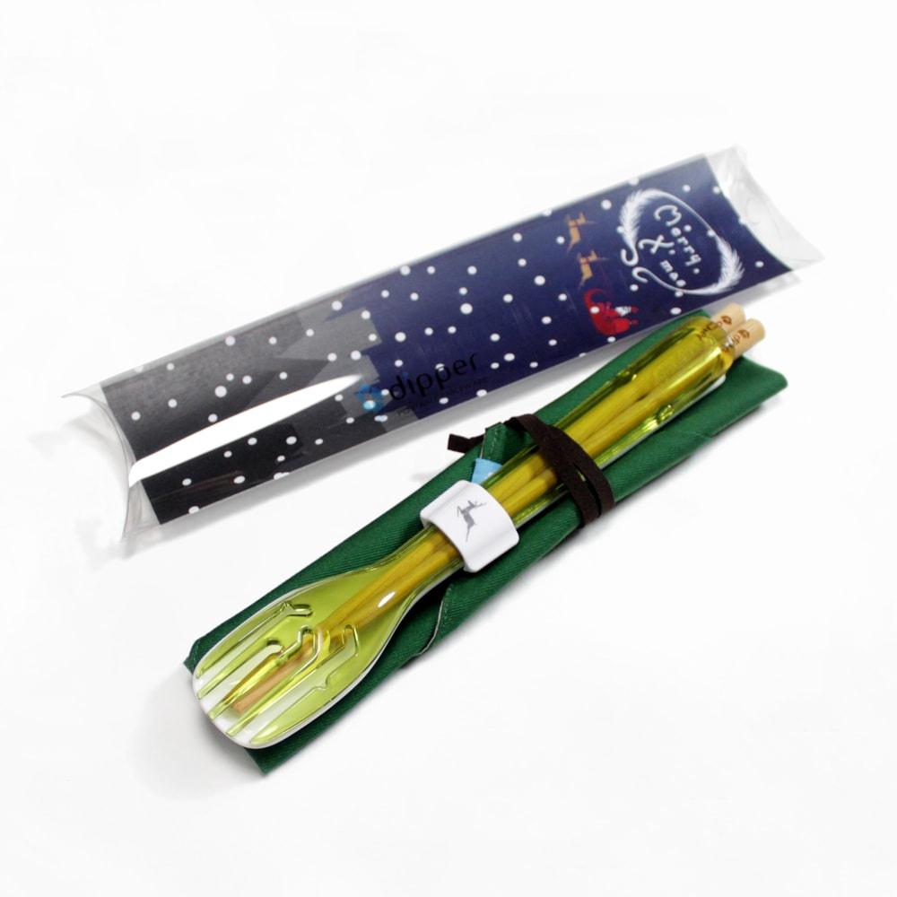 dipper 3合1環保餐具組-青嫩綠叉/陶瓷湯匙(聖誕麋鹿限定版)