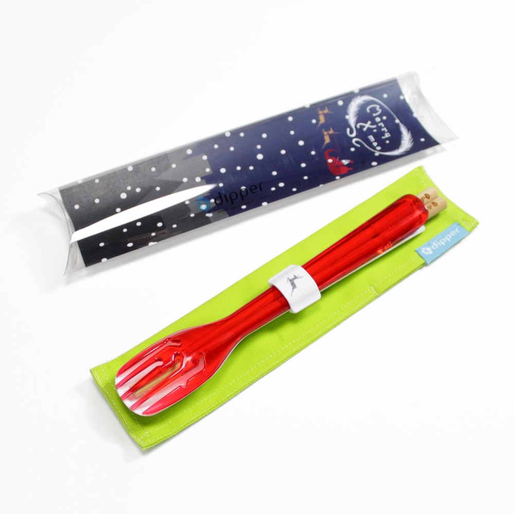 dipper 3合1檜木環保餐具組-莓果紅叉(聖誕麋鹿限定版)