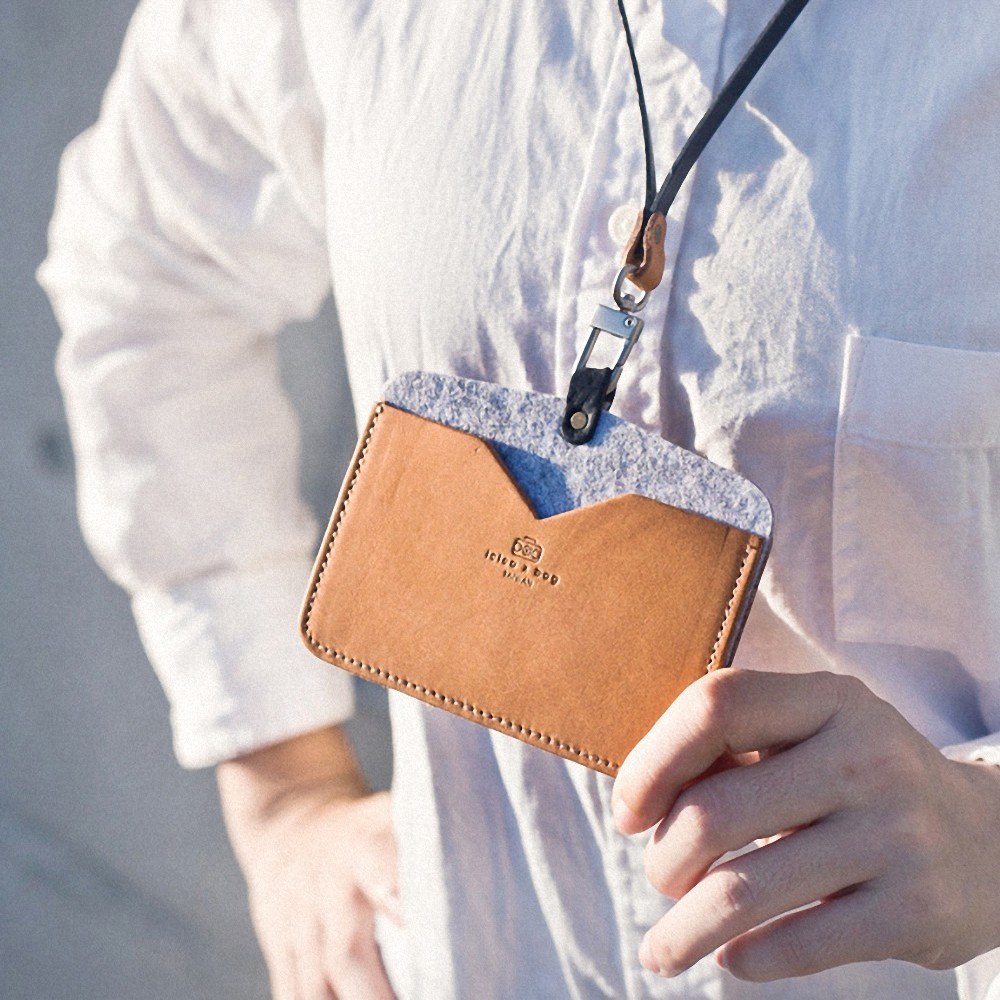 icleaXbag 皮革橫式雙匣識別證套