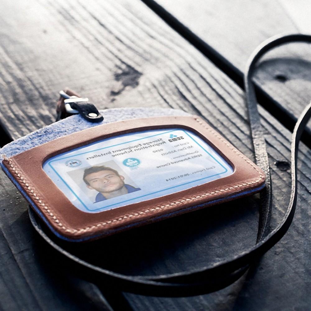 icleaXbag|皮革橫式雙匣識別證套