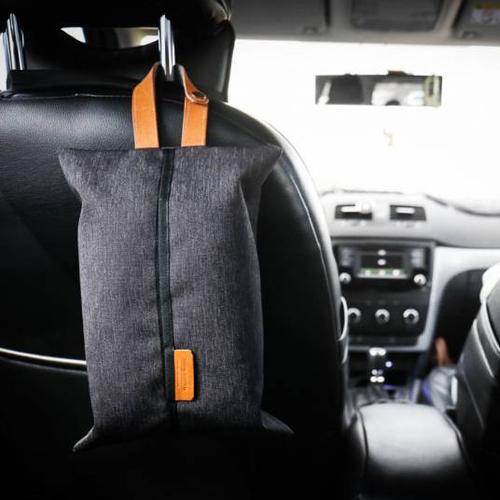 icleaXbag|真皮車用面紙套 加扣版