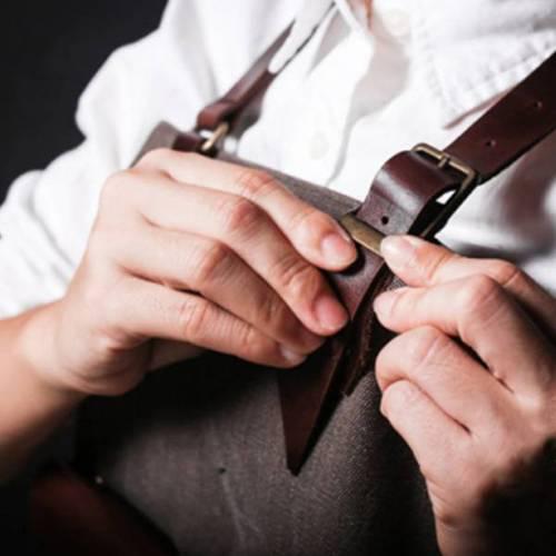 icleaXbag|手作皮革工作圍裙 (油蠟皮帶脖掛式)