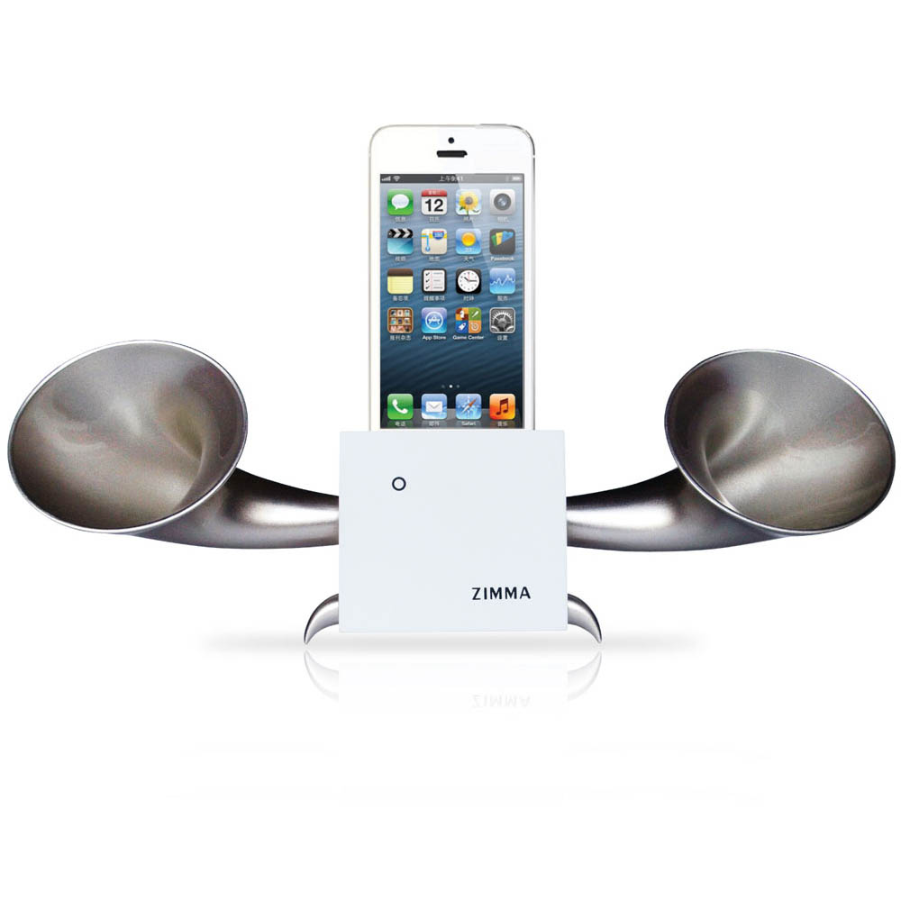GeckoDesign|ZIMMA 貝殼杉擴音器  for iPhoneSE /  i5系列 / i4系列 / iPod Touch 5(白/銀)