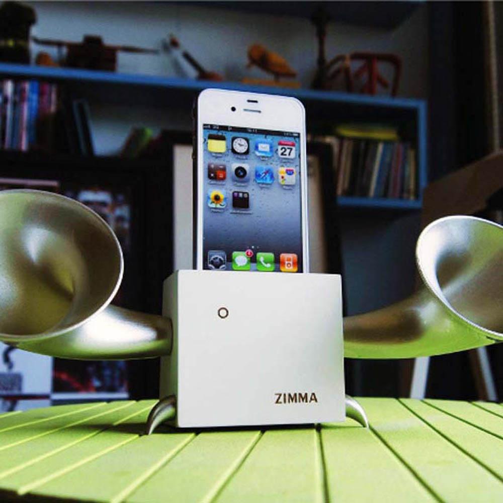GeckoDesign|ZIMMA 山毛櫸擴音器  for iPhoneSE /  i5系列 / i4系列 / iPod Touch 5(白/銀)