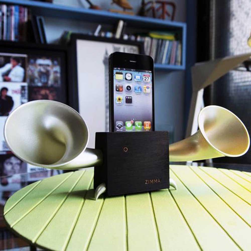GeckoDesign|ZIMMA 貝殼杉擴音器  for iPhoneSE /  i5系列 / i4系列 / iPod Touch 5(黑/銀)