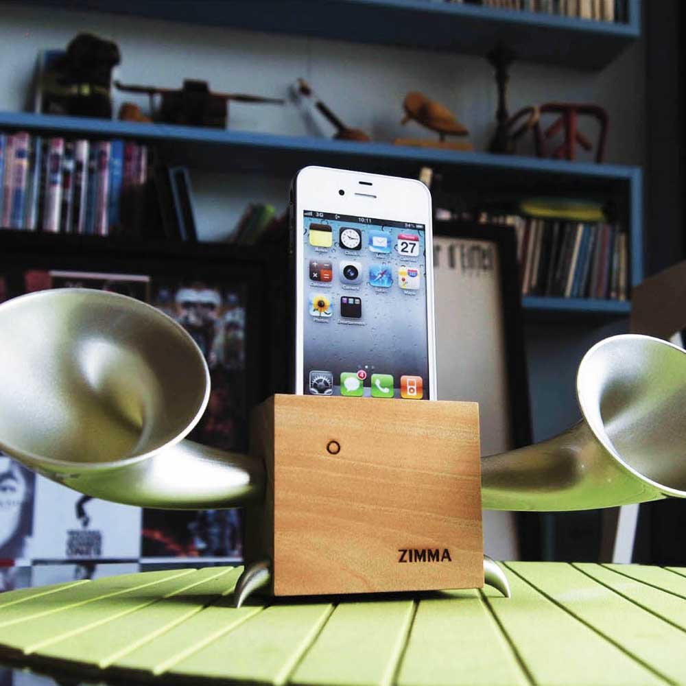 GeckoDesign|ZIMMA 山毛櫸擴音器  for iPhoneSE /  i5系列 / i4系列 / iPod Touch 5(原木/銀)