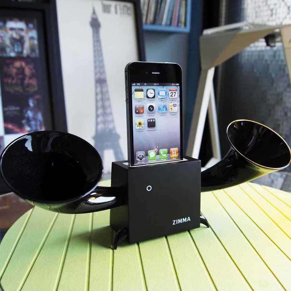 GeckoDesign|ZIMMA 山毛櫸擴音器  for iPhoneSE /  i5系列 / i4系列 / iPod Touch 5(黑/黑)