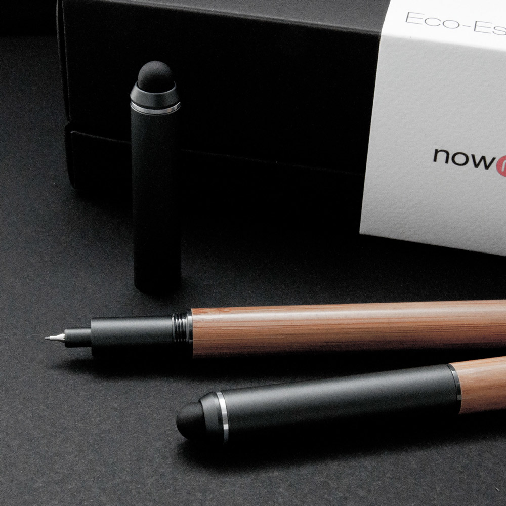 ISHUJA|now&then ECO竹系列-書寫觸控兩用筆-中性筆+自動鉛筆組(黑色)