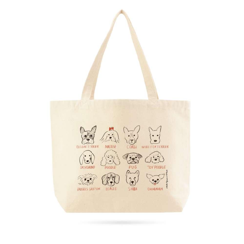 UMade|藝術家創作大托特 - 和狗狗的甜蜜生活 Sweet life with cute doggies! - Naho Ogawa